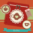 Vintage background with tea — Stock Vector