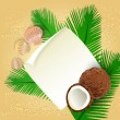 Sea Greeting Card with cocoa and shells — 图库矢量图片