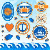 Vector set of sea emblems — Stock Vector