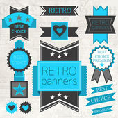 Vector set of retro labels and buttons — Vetor de Stock