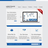 Blue business website template — Wektor stockowy