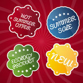Summer sale design emblems set — Stock Vector
