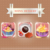 Icons dessert — Vector de stock