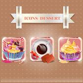 Ikoner dessert — Stockvektor