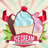 Vintage ice cream card — Stock Vector