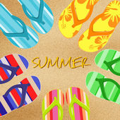 Summer background with flip flops — Vector de stock