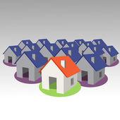 3d model house symbol set — Stock Vector