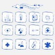Medicine icons sketch set — Stock Vector