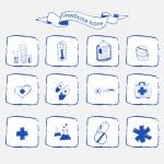 Medicine icons sketch set — Stock Vector