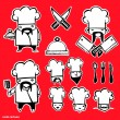 Royalty-Free Stock Vectorielle: Cook cartoon icons set
