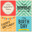Stock Vector: Happy birthday greeting cards set