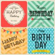 Happy birthday greeting cards set — Stock Vector