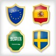 Shield stylized flags — Vektorgrafik
