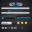 Set of vector icons for web searching and downloading — Stock Vector