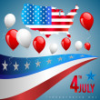 Stock Vector: 4th of July poster card. Vector Illustration