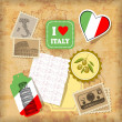 Italy landmarks and symbols - Stock Vector