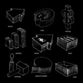 Web icons sketch set — Stock Vector