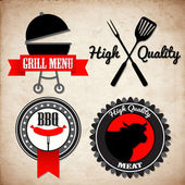 Grill menu signs — Vector de stock
