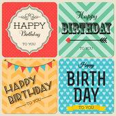 Happy birthday greeting cards set — Stock Vector