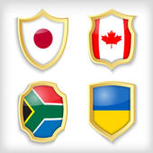 Shield stylized flags — ストックベクタ