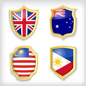 Shield stylized flags — Stock Vector