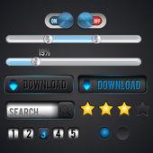Ensemble d'icônes vectorielles pour le web à la recherche et le téléchargement — Vecteur