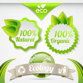 Set of eco lifestyle labels — Stock Vector