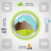 набор этикеток и фон для путешествий и туризма — Cтоковый вектор