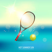 Vector illustration of tennis items — Stock Vector