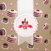 Cupcakes and candy seamless pattern — Stock Vector