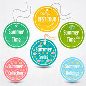 Vector set of stickers for summertime — Stock Vector