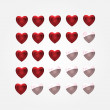 Stock Vector: Vector set of heart buttons