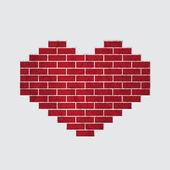 Vector heart of bricks — Stock Vector
