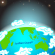 Illustration of Indian ocean on Earth — Stockvektor