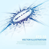 Vector background with blue compass. — Stock Vector