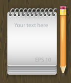 Vector illustration of notepad with pencil — Vettoriale Stock