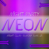 Neon party poster — Stock Vector
