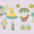 Retro travel set with a bicycle — Imagen vectorial