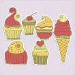 Delicious cupcakes and ice-cream vector illustration — Stock Vector