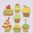 Delicious cupcakes vector illustration — Stock Vector