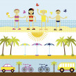 Summer set, travel vector illustration — Stock Vector