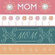 Set of Mother's day greeting banners with spring flowers. Vector illustration — Stock Vector