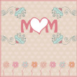 Mother's day greeting card with spring flowers. Vector illustration — Imagen vectorial