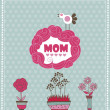 Mother's day greeting card with spring bird and flowers. Vector illustration — Stock Vector