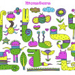 Set of multicolored cartoon monsters. Vector image — Stock Vector #27998359