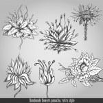 Handmade flowers panache. Vector illustration in retro style — Stock Vector