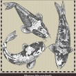 Set of fish. Retro style vector illustration. Isolated on grey background — 图库矢量图片