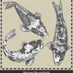 Набор рыб. Ретро-стиле векторные иллюстрации. Изолированные на сером фоне — Cтоковый вектор