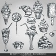 Ice cream and cake set. Hand drawing sketch vector illustration. Retro style — Imagens vectoriais em stock