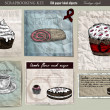 Coffee and cake set. Old paper label vector illustration. Vintage style — Imagens vectoriais em stock